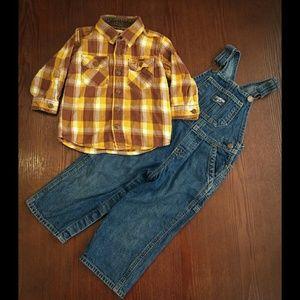 OshKosh plaid flannel and overalls